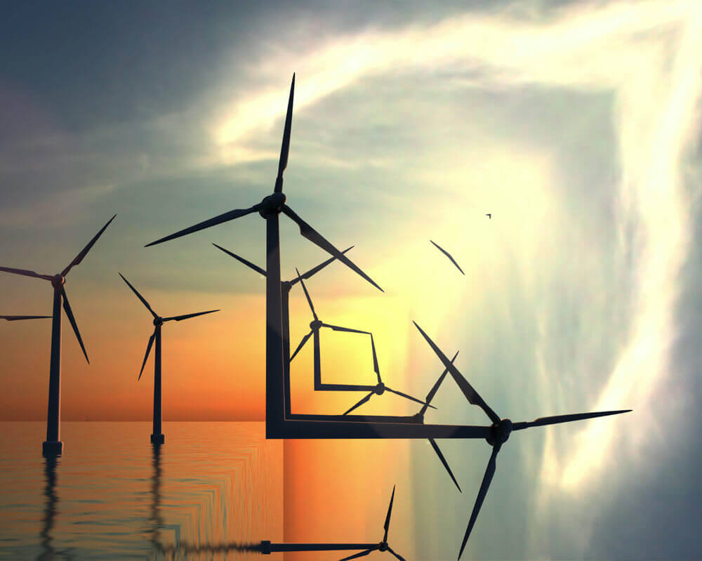 inception wind turbines sea sunset